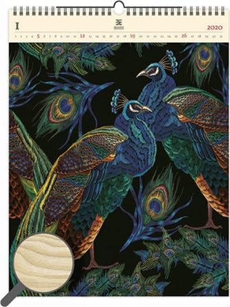 Kalendář nástěnný dřevěný 2020 - Peacocks