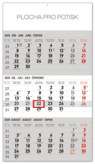 Nástenný kalendár 3mesačný štandard šedý so slovenskými menami 2020