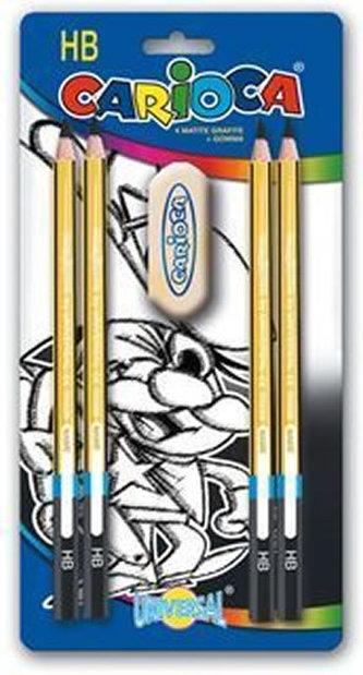 CARIOCA trojhranné grafitové tužky 4 ks, tvrdost HB