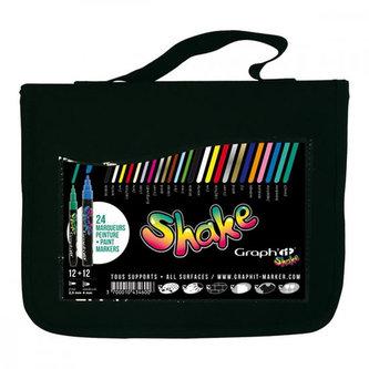 Graph´it Shake sada 12 středně velkých a 12 tenkých popisovačů v pouzdru