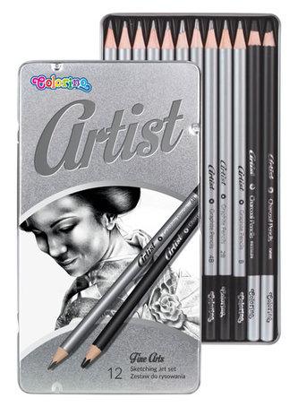 Artist - kreslířská sada grafitových tužek a uhlů kulaté kovový box