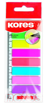 Kores Neonové záložky Index Strips na pravítku 45x12 mm 8 barev