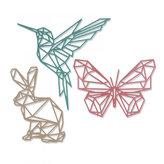 SIZZIX Thinlits vyřezávací  kovové šablony - králik, kolibřík a motýl 3 ks