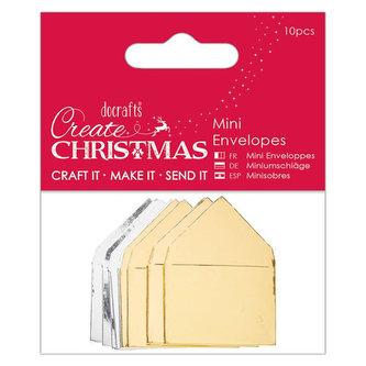 DOCRAFTS mini metalické obálky - 5ks stříbrné + 5ks zlaté