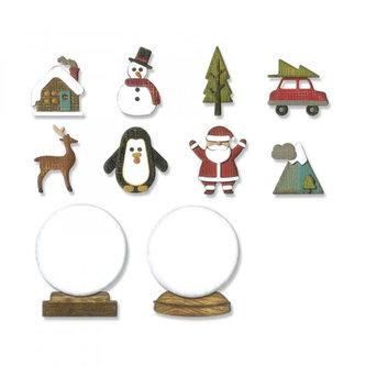 SIZZIX Thinlits vyřezávací  kovové šablony - vánoční snežítka 11 ks