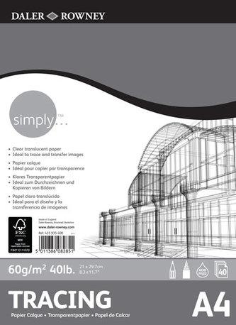 Daler - Rowney SIMPLY skicák Tracing A4, 60 g / m2, 40 listů