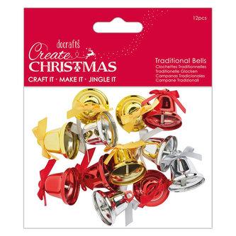 DOCRAFTS vánoční zvonečky - zlaté, stříbrné, červené 12 ks