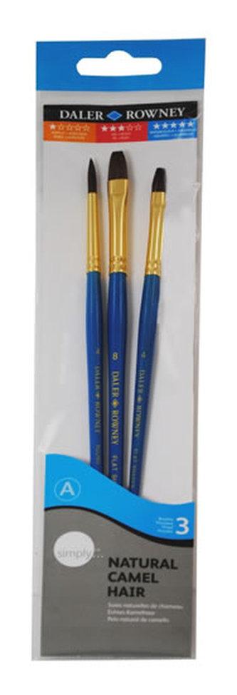 Daler - Rowney SIMPLY Natural sada štětců 3 ks - velbloudí vlas, akvarel, krátká ručka #1
