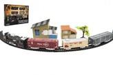 Vlak + 3 vagóny s kolejemi s doplňky plast 104x68cm na baterie se světlem v krabici 46x32x5cm