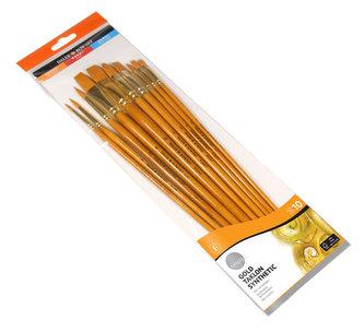 Daler - Rowney SIMPLY akryl Gold Taklon sada štětců 10 ks - syntetický vlas, dlouhá ručka