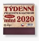 Pracovní Retro Mini kalendář týdenní - stolní kalendář 2020