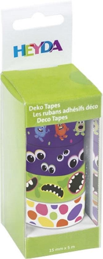 HEYDA samolepící washi papírové pásky - sada příšerky 1,5 cm x 5 m ( 4 ks )