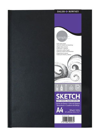 Daler - Rowney SIMPLY skicák v knižní vazbě A3, extra bílý 100 g / m2, 54 listů