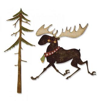 SIZZIX Thinlits vyřezávací  kovové šablony - vánočný sob 7 ks
