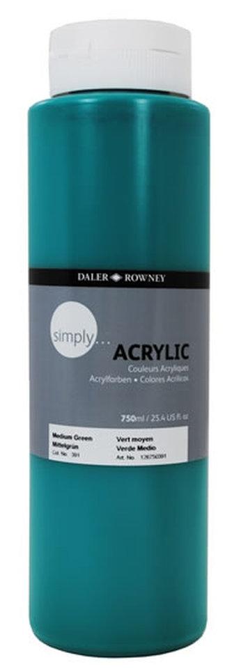 Daler - Rowney SIMPLY akrylová barva - Medium Green 750 ml