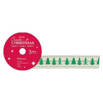 DOCRAFTS bavlněná krémová stuha - vánoční stromky 1,5 cm x 3 m
