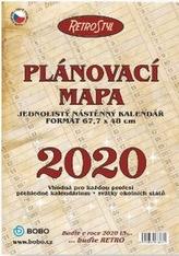 Plánovací roční mapa RETRO skládaná - nástěnný kalendář 2020