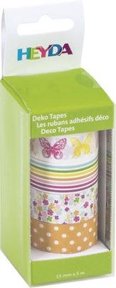 HEYDA samolepící washi papírové pásky - sada motýlci 1,5 cm x 5 m ( 4 ks )