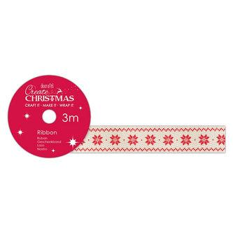 DOCRAFTS bavlněná krémová stuha - sněhové vločky 1,5 cm x 3 m