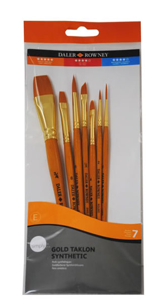 Daler - Rowney SIMPLY akryl Gold Taklon sada štětců 7 ks - syntetický vlas, krátká ručka