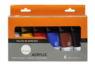 Daler - Rowney SIMPLY sada akrylových barev 6 x 75 ml