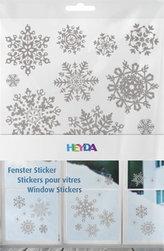 HEYDA samolepky na okna A4 - stříbrné hvězdy 3ks