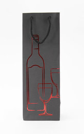 Taška lahev Černá deluxe 2 - červ.dekor
