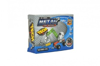 Stavebnice kovová stavební stroje 4 druhy v krabičce 12x9x3cm 24ks v boxu