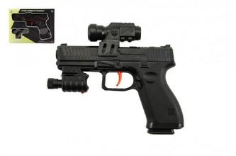 Pistole na vodní kuličky 6mm plast 17cm s laserem na baterie v krabici 21x16x3,5cm