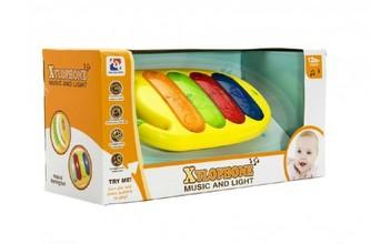 Piánko/xylofon plast 25cm na baterie se zvukem a světlem v krabici 35x17x13cm