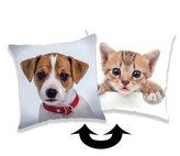 Polštářek s flitry - Pes & Kočka