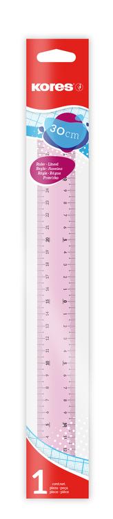 Transparentní pravítko 30 cm (čiré, růžové)