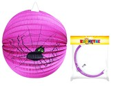 Lampion Halloween kulatý, fialový - pavouk, 25cm
