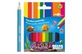 Pastelky barevné dřevo krátké Ocean World šestihranné 12 ks v krabičce 9x11,5x1cm 12ks v krabici