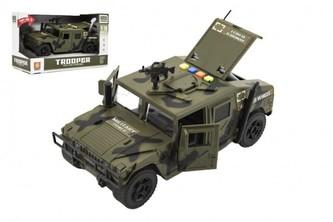 Auto vojenské plast 24cm na setrvačník na baterie se světlem a zvukem v krabici 28,5x17,5x13cm
