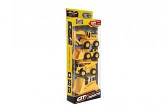 Auto stavební 4ks plast 9-11cm na zpětné natažení v krabici 12,5x34x5,5cm