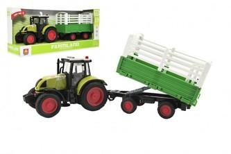Traktor s vlekem plast 38cm na baterie se světlem a zvukem v krabici 42x19x12cm