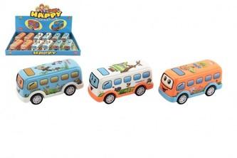 Autobus pro nejmenší plast 10cm na setrvačník 3 barvy 12ks v boxu