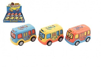 Autobus pro nejmenší plast 8cm na setrvačník 3 barvy 12 ks v boxu