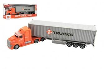 Kamion s kontejnerem plast 36cm na setrvačník na baterie se světlem se zvukem v krabici 39x15x8cm
