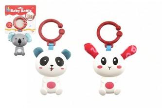 Chrastítko panda/zajíc/koala plast 18cm mix barev na kartě  v sáčku 0m+