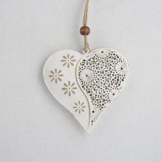 Závěsné kovové srdce prošívané