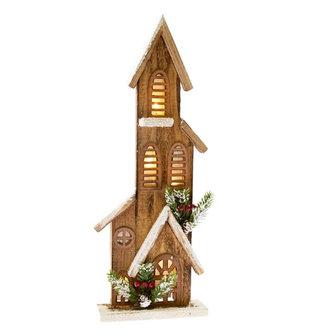 Dřevěný domeček se světlem - přírodní 40 cm