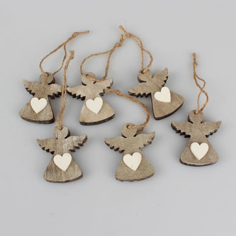 Závěsný dřevěný anděl - natur - sada 6ks