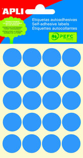 Samolepicí etikety O 19 mm - modré