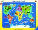 Mapa světa se zvířaty 30-48d