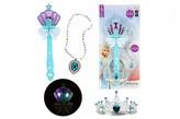 Kouzelní hůlka + čelenka a náhrdelník Ledová princezna plast na bat. se zvukem se světlem na kartě