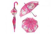 Deštník Jednorožec 66x80cm růžový vystřelovací v sáčku