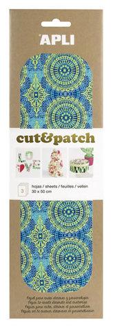 APLI Cut&Patch papír 30 x 50 cm - Zeleno-modrý motiv 3 ks