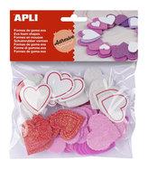 APLI pěnovka tvary - srdce se třpytkami samolepicí, mix velikostí, barev 52 ks